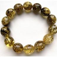 Green olive shape Baltic amber bracelet 20 g
