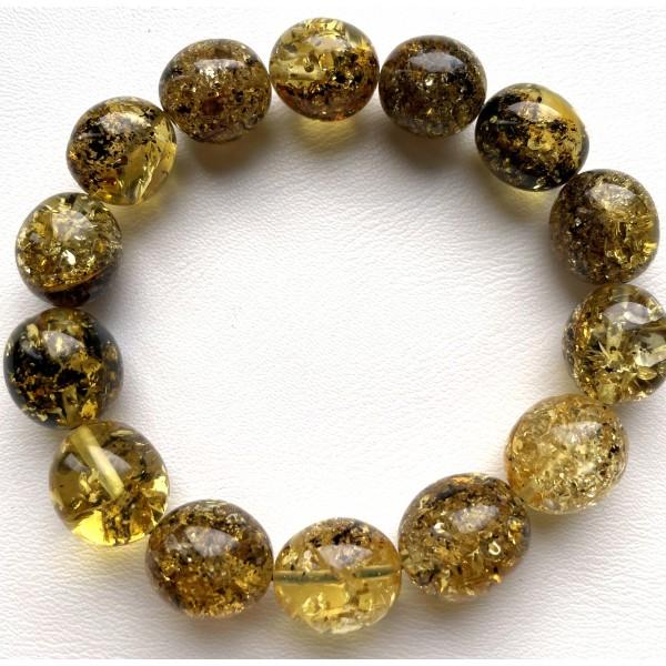 Green olive shape Baltic amber bracelet 20 g -
