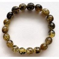 Green olive shape Baltic amber bracelet 9 g