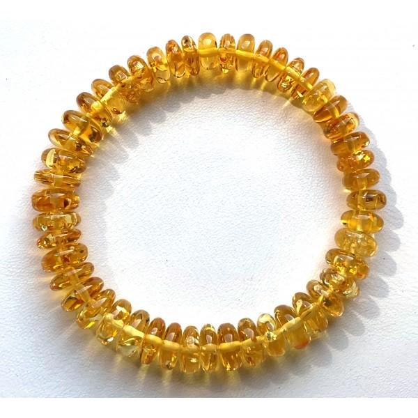 Lemon Color Amber Stretch Bracelet -