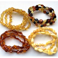 Lot of 12 beans shape amber bracelets