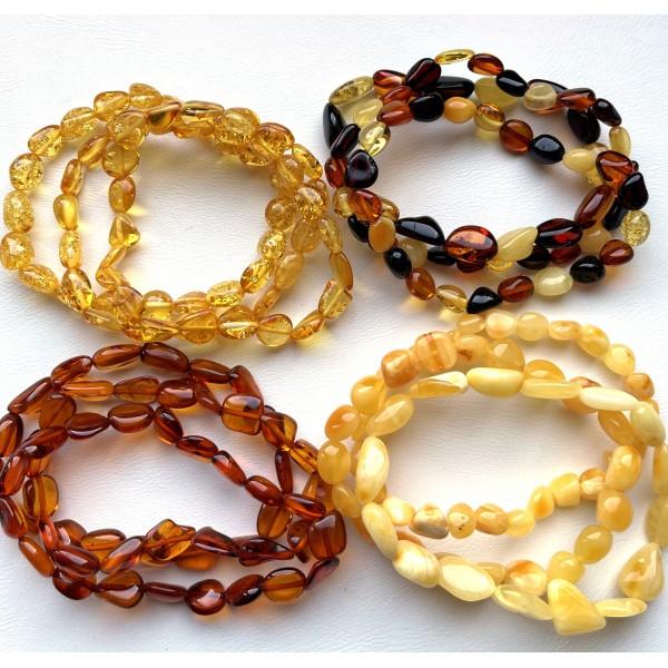 Lot of 12 beans shape amber bracelets -