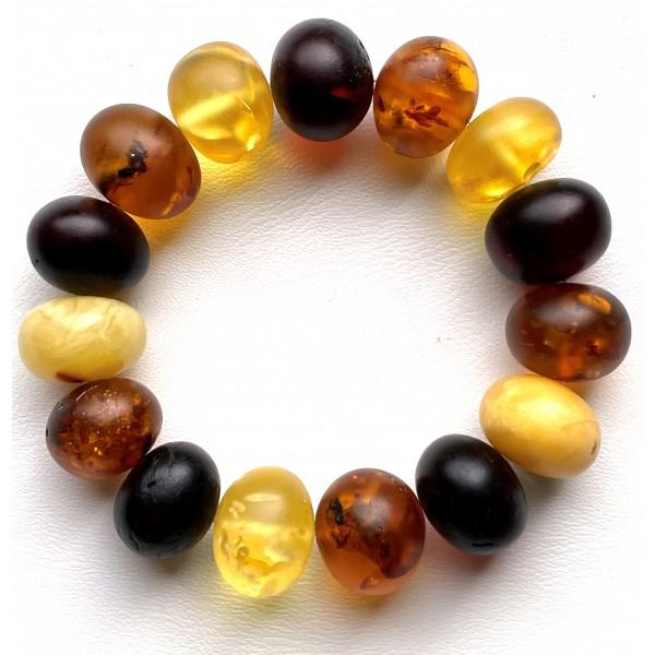 Multi-Color Amber Baroque Beads Stretch Bracelet -