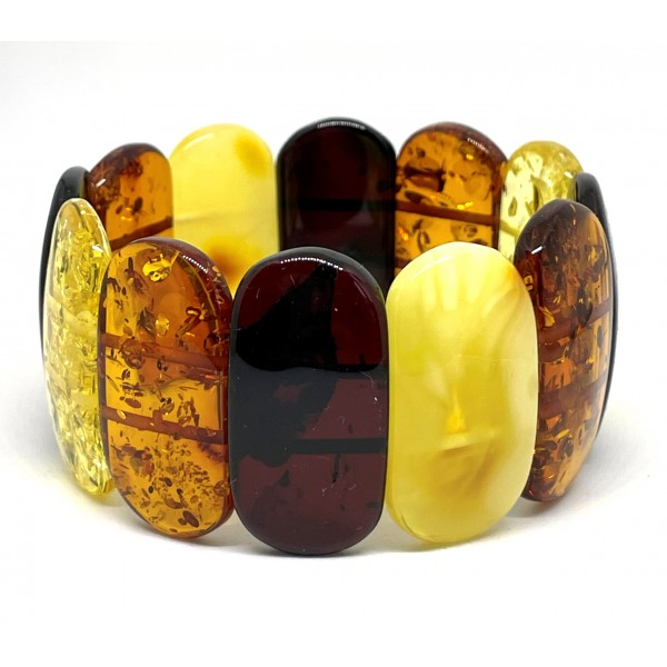 Multicolor BALTIC AMBER Pieces Stretch Bracelet 34 g -