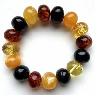 Multicolor baroque beads Baltic amber bracelet 25g