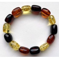 Multicolor Barrel Beads Baltic Amber Bracelet