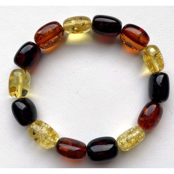 Multicolor Barrel Beads Baltic Amber Bracelet -