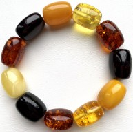 Natural BALTIC AMBER BRACELET Barrel Beads Unisex 27 g.