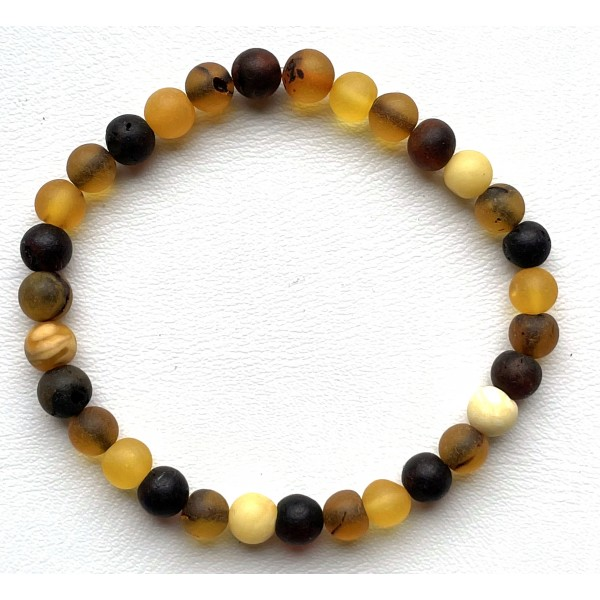 Natural Baltic Amber Bracelet for Adults (Women/Men) - Hand Made from Raw-Unpolished -