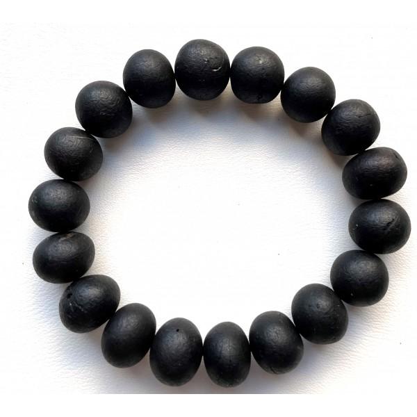 Natural Baltic black unpolished amber baroque beads bracelet 21g -