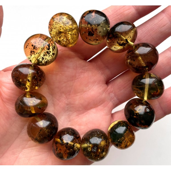 Natural Plant Amber Bracelet Baroque Beads 42g -