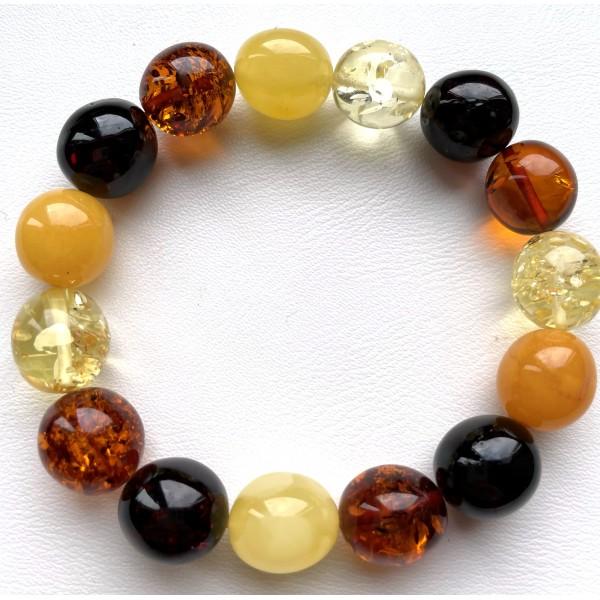 Olive Shape Beads Genuine Baltic Amber Stretch Bracelet 20 g -