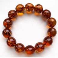 Olive Shape Beads Genuine Baltic Amber Stretch Bracelet 21g