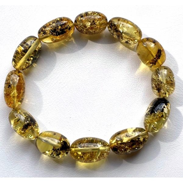 Olive Shape Beads Green Baltic Amber Stretch Bracelet -