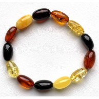 Olive Shape Beads Multicolored Baltic Amber Stretch Bracelet