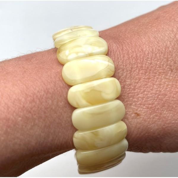 White BALTIC AMBER Stretch Bracelet -