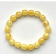 Yellow natural amber color olive shape bracelet 11g