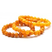 Lot of 3 antique color Baltic amber baroque beads bracelets