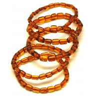 Lot of 5 cognac barrel shape Baltic amber bracelets