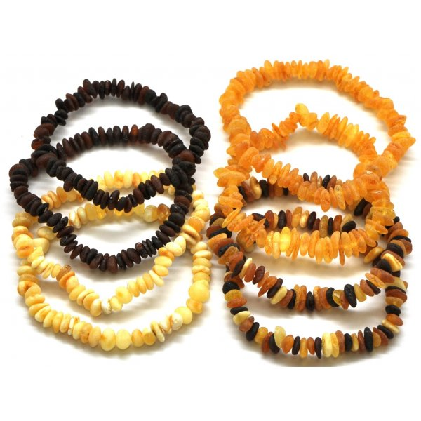 8 Raw Baltic amber chip bracelets -AB2044