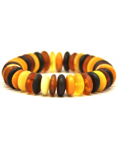 Unpolished Baltic amber elastic multicolour bracelet