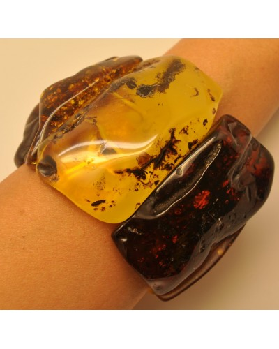 Massive mixed raw and polished amber bracelet 170 g.