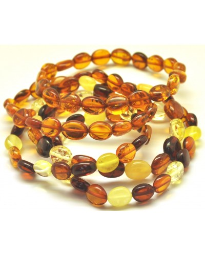 Lot of 5 button shape Baltic amber bracelets