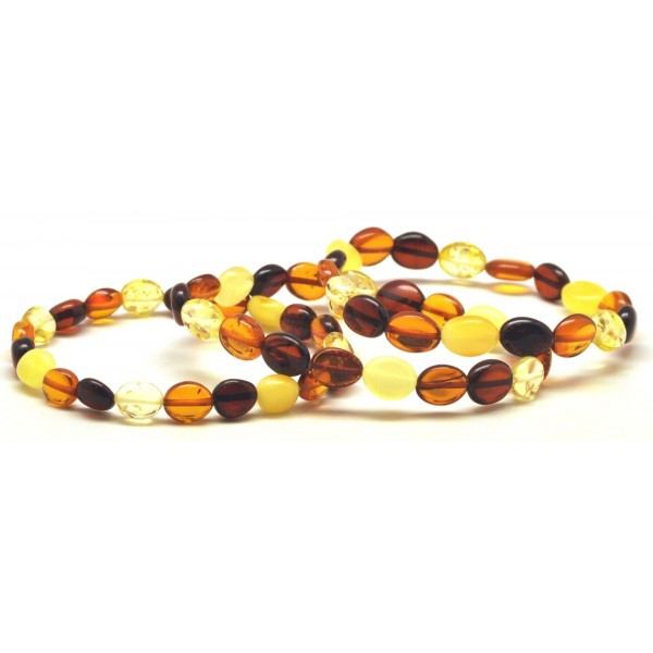 Amber bracelets | Lot of 3 button shape Baltic amber bracelets