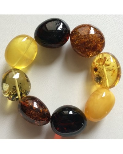 Multicolour amber beads bracelet 50g