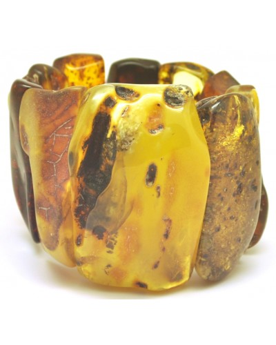 Massive mixed raw and polished amber bracelet 174 g.
