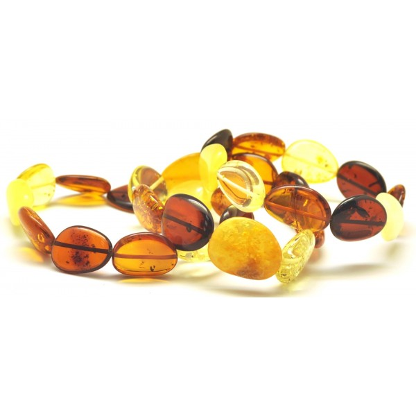 Amber bracelets | Lot of 3 Baltic amber big beads bracelets