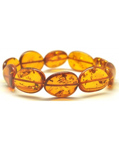 Baltic amber cognac big beads bracelet