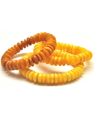 Lot of 3 antique Baltic amber elastic bracelets