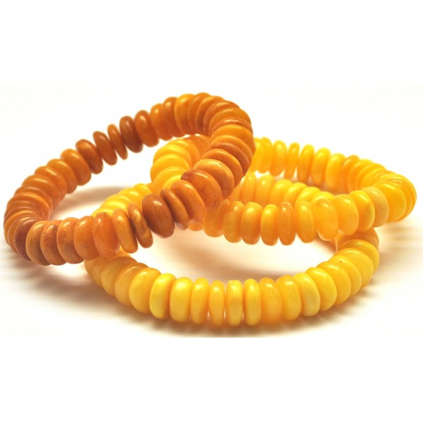 Amber bracelets | Lot of 3 antique Baltic amber elastic bracelets