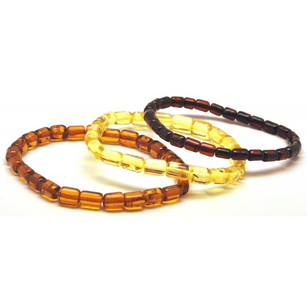 Amber bracelets | Lot of 3 barrel shape Baltic amber bracelets