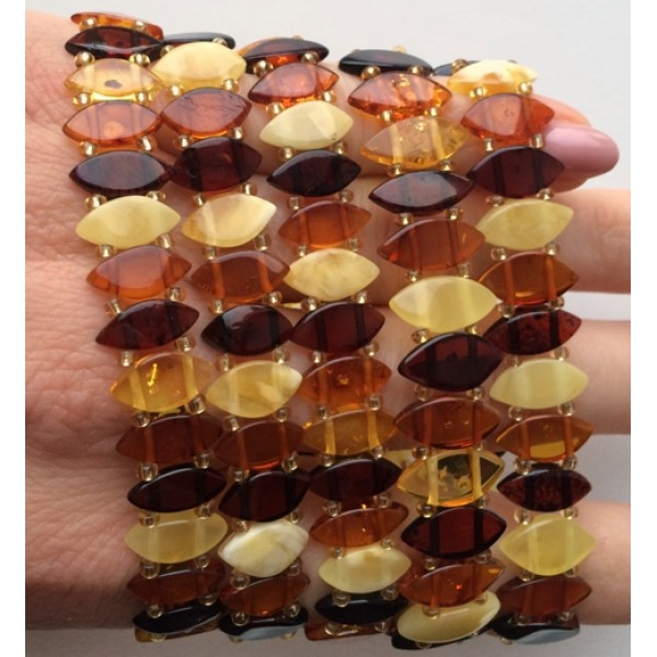 Lot of 5 elastic amber bracelets