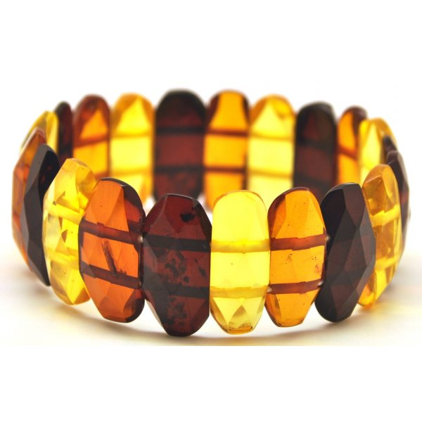 Faceted multicolor Baltic amber bracelet-AB2495
