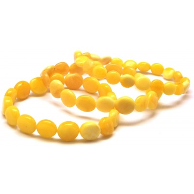 Lot of 3 button shape natural amber bracelets