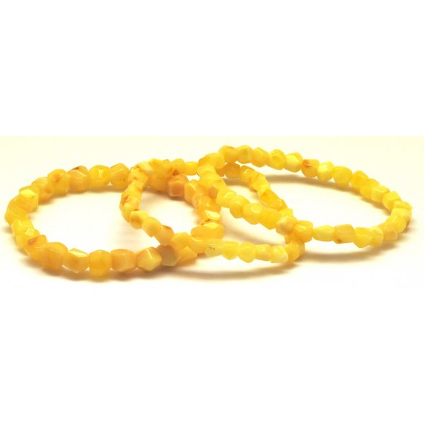 Lot of 3 faceted yellow Baltic amber bracelets-AB2540