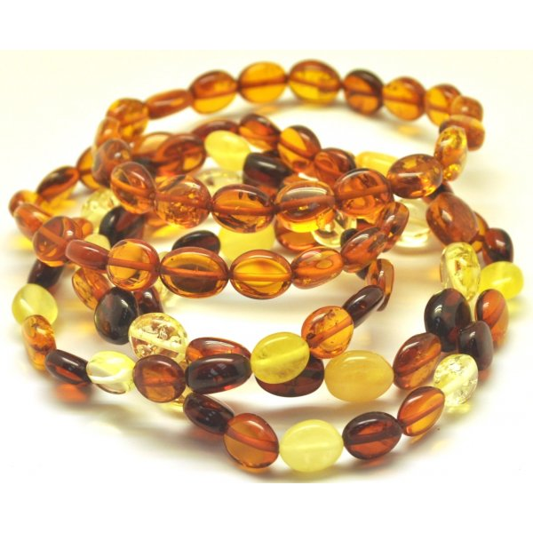 Lot of 5 button shape Baltic amber bracelets-AB2503