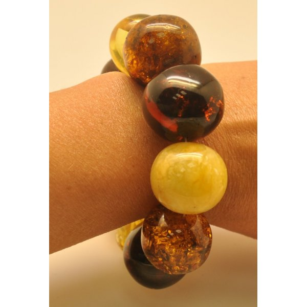 Massive multicolor baroque beads Baltic amber bracelet 88 g .-AB2486
