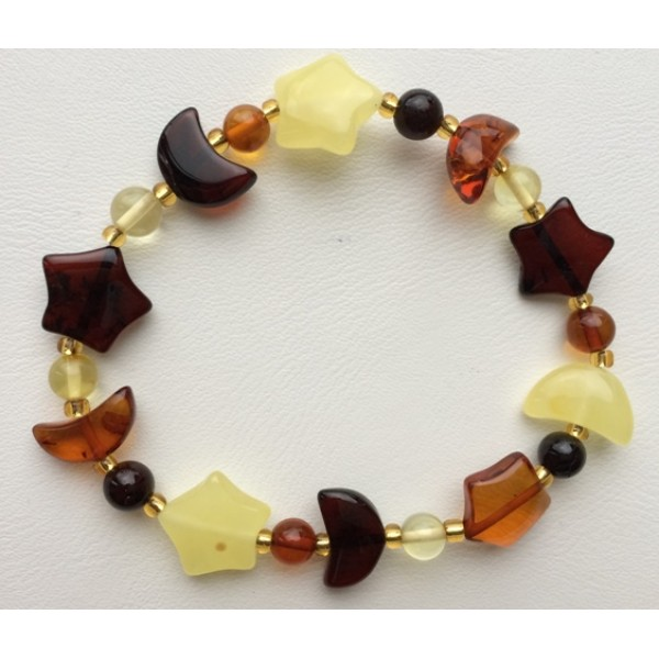 Multicolour Baltic amber bracelet-AB2590