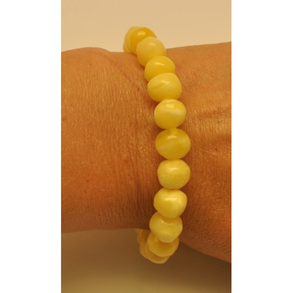 Yellow baroque beads Baltic amber bracelet-AB2534
