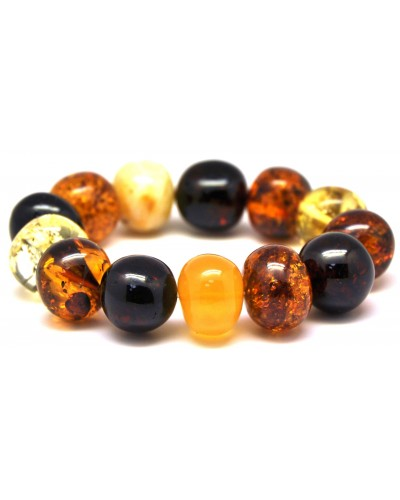 Multicolor baroque beads Baltic amber bracelet 47 g .