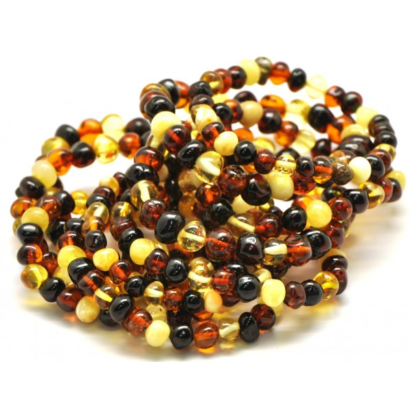 Amber bracelets | Lot of 10 multicolor baroque beads Baltic amber bracelets