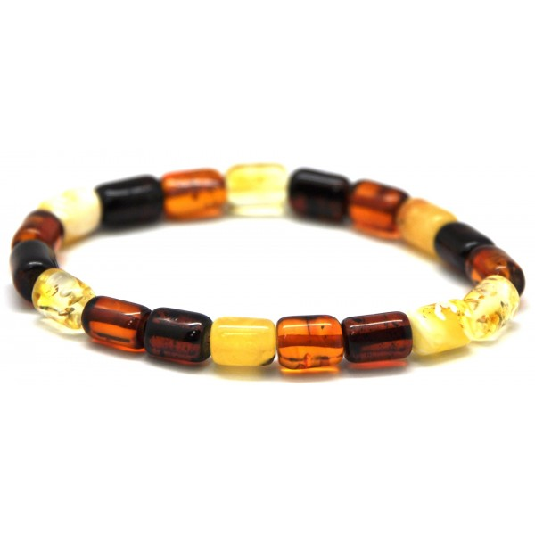 Amber bracelets | Multicolor barrel shape Baltic amber bracelet