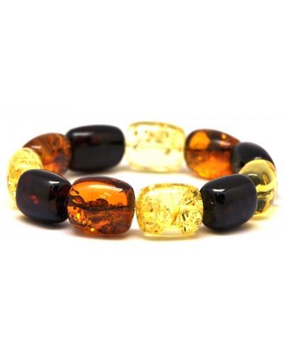 Multicolor barrel shape Baltic amber bracelet