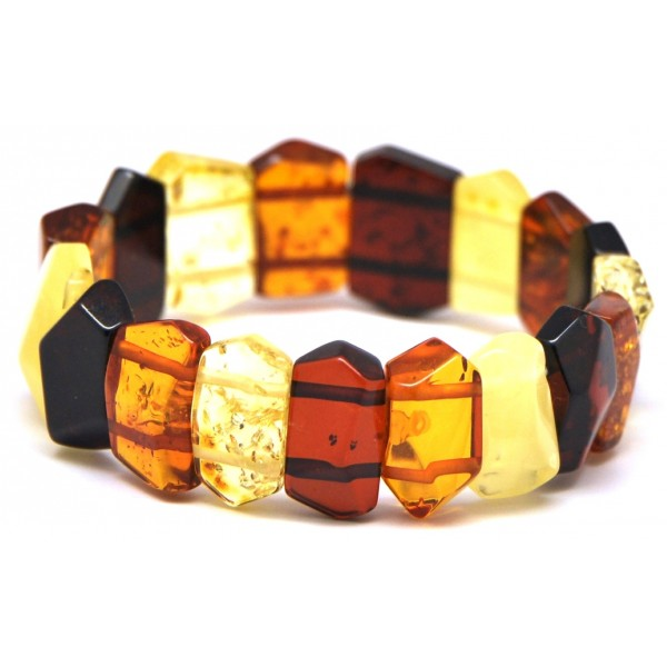 Amber bracelets | Faceted multicolor Baltic amber bracelet