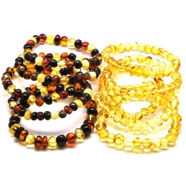 Amber bracelets | Lot of 10 baroque beads Baltic amber bracelets