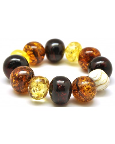 Multicolor baroque beads Baltic amber bracelet 78 g .